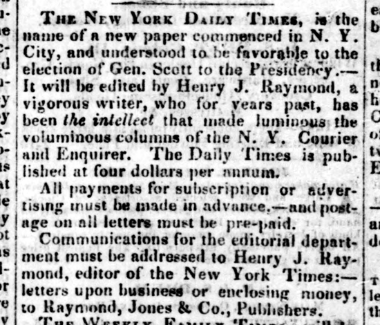 New-York Daily Times, advertising Sept. 18, 1851