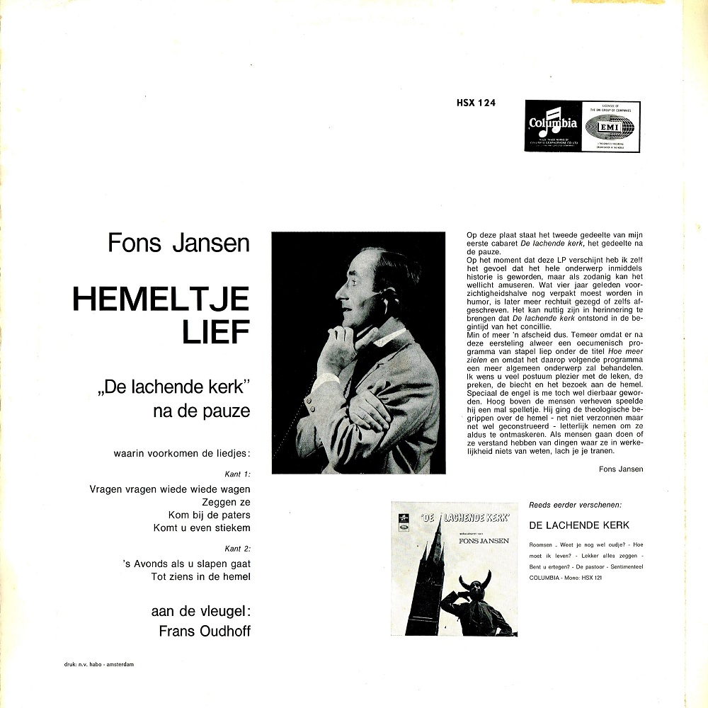 Naald Op De Groef Fons Jansen Hemeltje Lief 1965 Lp