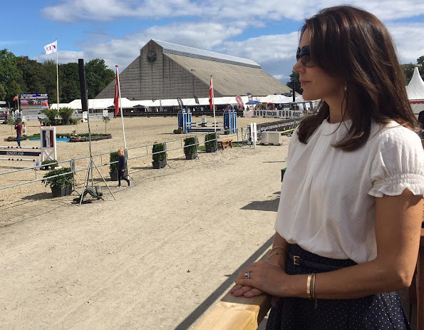 Crown Princess Mary visited Danish Vilhelmsborg National Equestrian Center (Aarhus) Princess Mary wore skirt, blouse