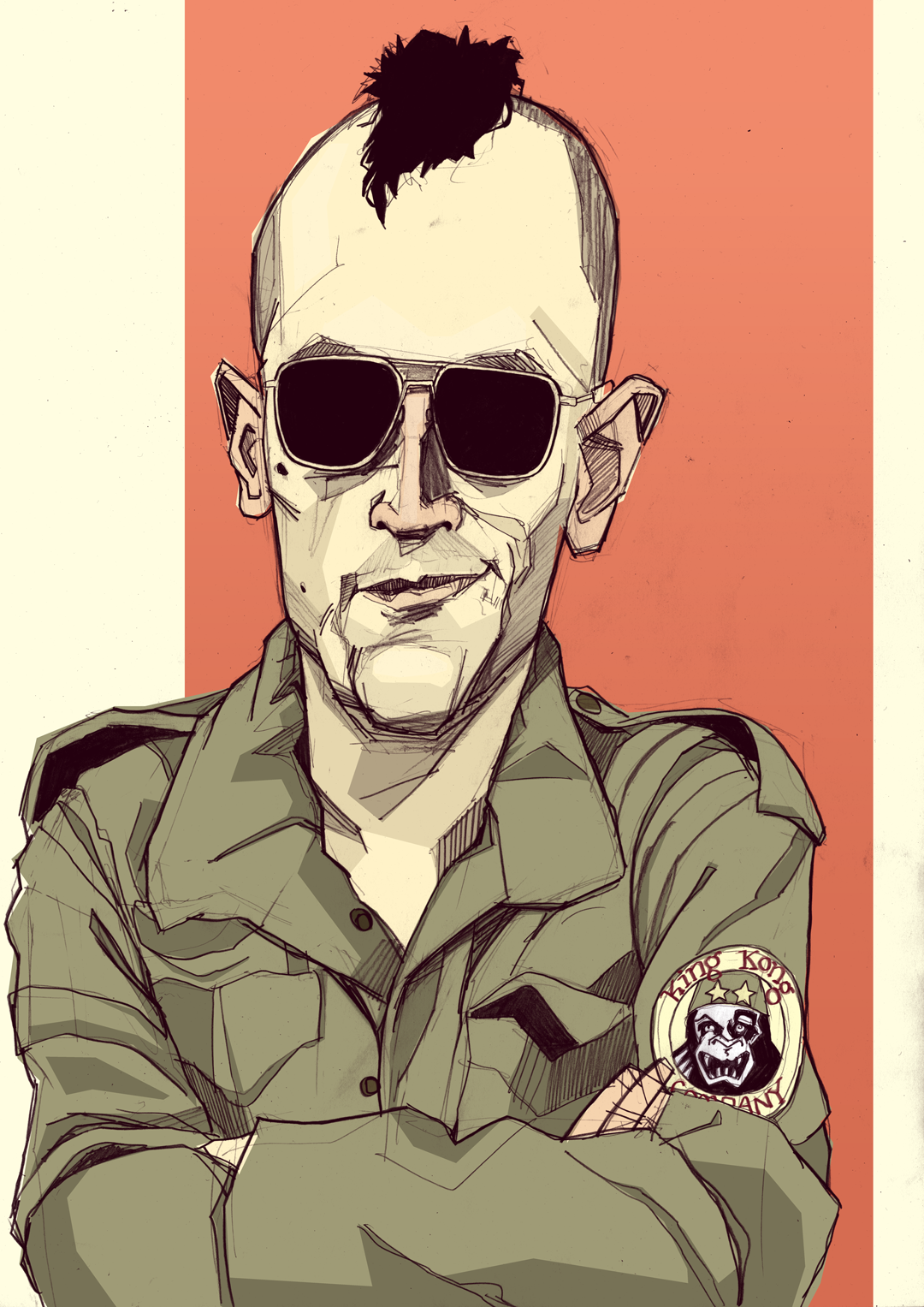 Robert De Niro Taxi Driver mohawk illustration