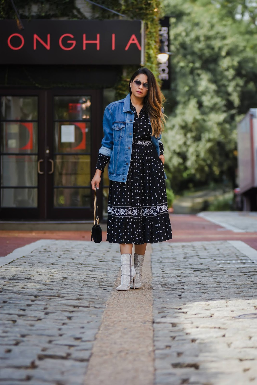 kate spade bandana dress, black dress, supersized denim jacket, boyfriedn jakcet, street style, holiday look, party look, fall fashion, steve madden sparkly booties,  myriad musings