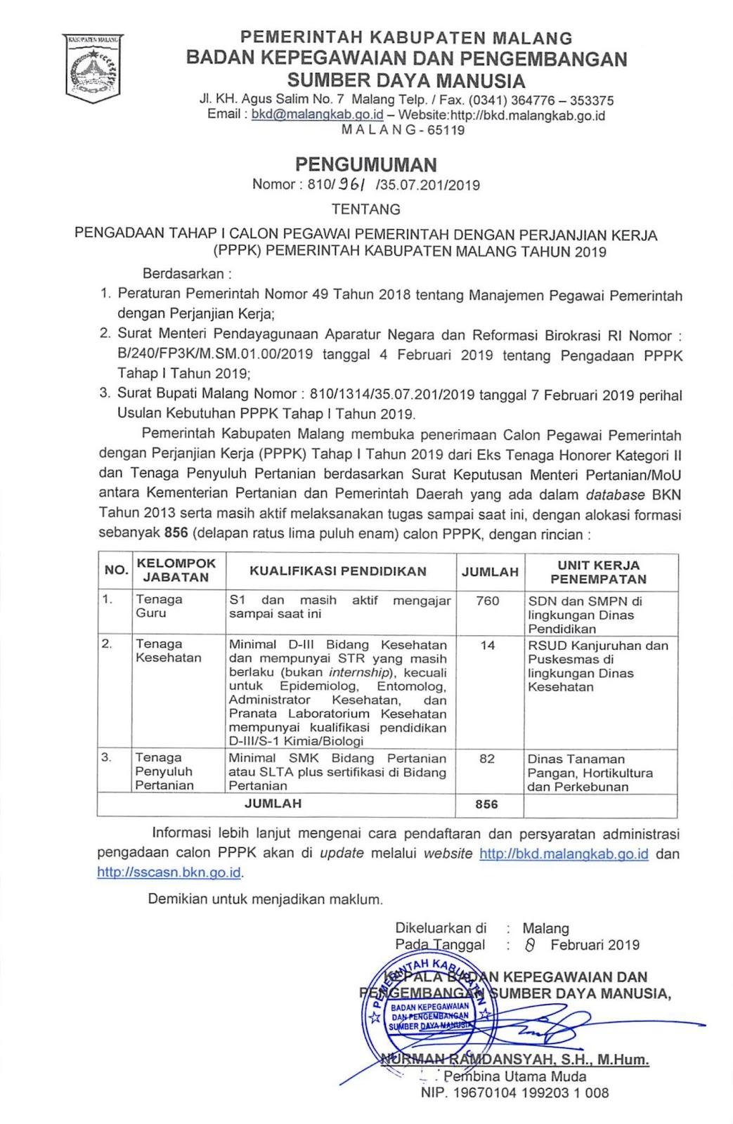 Rekrutmen Tenaga PPPK Pemerintah Kabupaten Malang Tahun 2019 (856 Formasi)