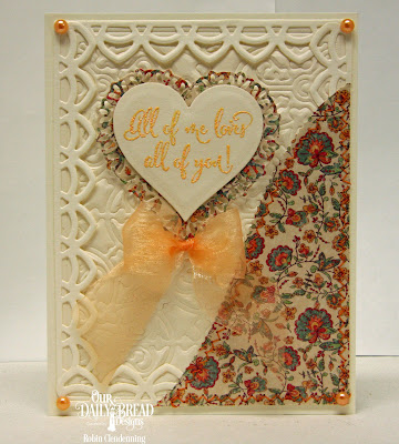 Our Daily Bread Designs Stamp Set: Hugs & Kisses, Custom Dies: Deco Border, Tulip Heart, Majestic Medallion, Layering Hearts, Paper Collection: Cozy Quilt,