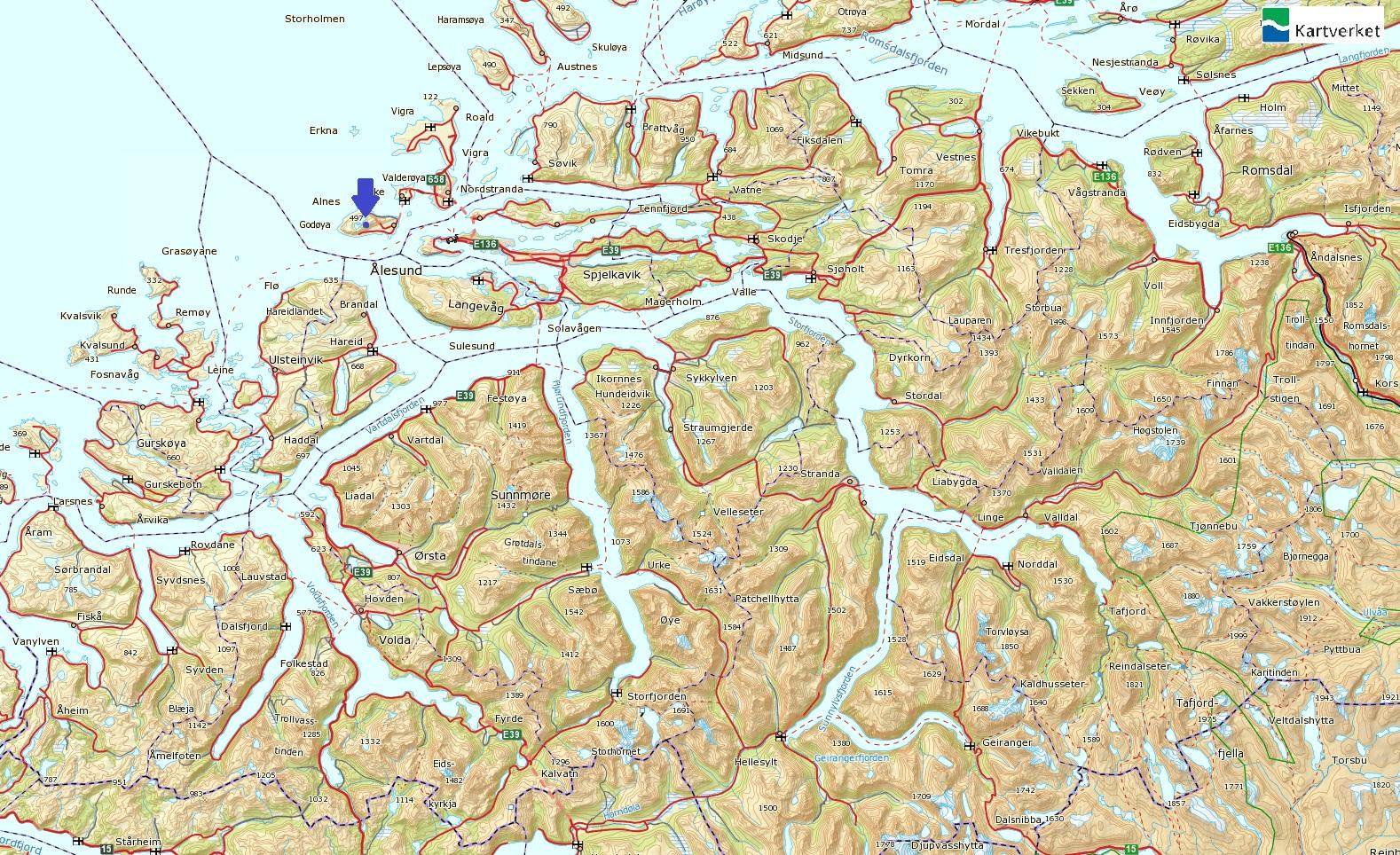 kart over søre sunnmøre Storhornet, Godøyfjellet fra Gjuv kart over søre sunnmøre