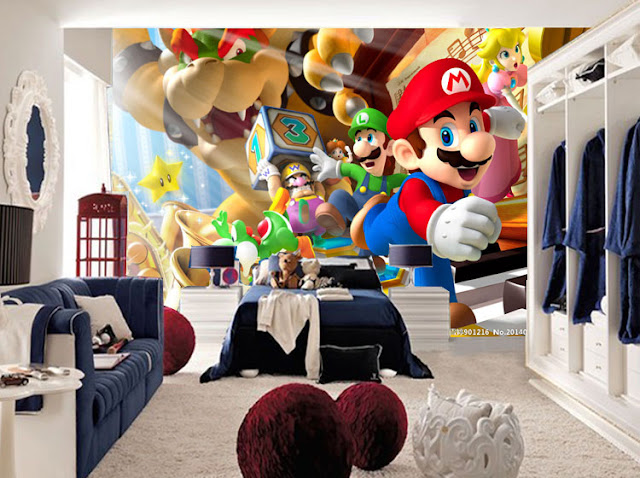 Childrens wall murals kids room Super Mario Kart Photo Wallpaper Cartoon Game 3D Children room Decoration Boy Room Wall Mural Bedroom Baby Room
