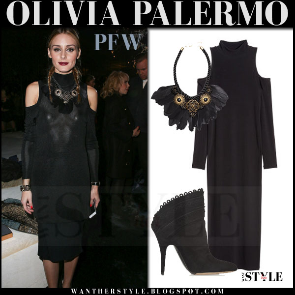 Olivia Palermo in black open shoulder h&m midi dress with black feather necklace and ankle boots what she wore front row pfw