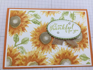 Thank you card using Sunflowers from Painted Harvest. Stampin Up.