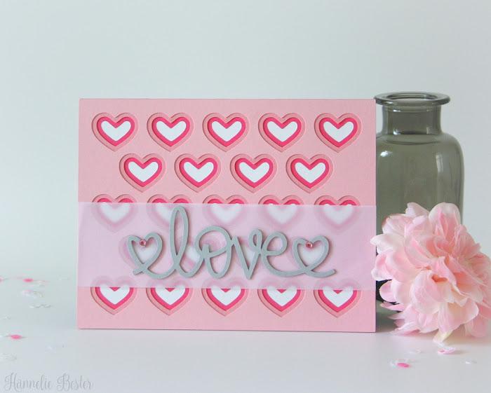 Hearts, love, silhouette cameo , handmade card
