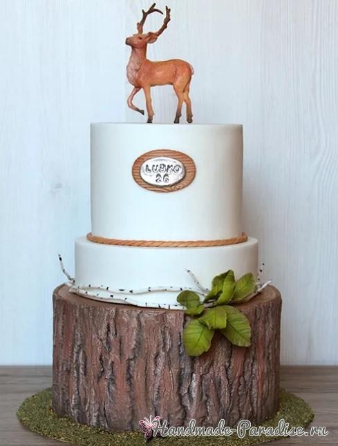 3D торт лесной тематики из сахарной мастики (1)