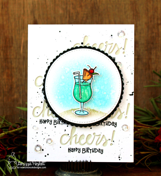 Cheers! Cocktail Birthday Card by Larissa Heskett | Cocktail Mixer Stamp Set by Newton's Nook Designs #newtonsnook