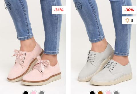 Pantofi dama casual roz, gri deschis moderni ieftini cu sireturi