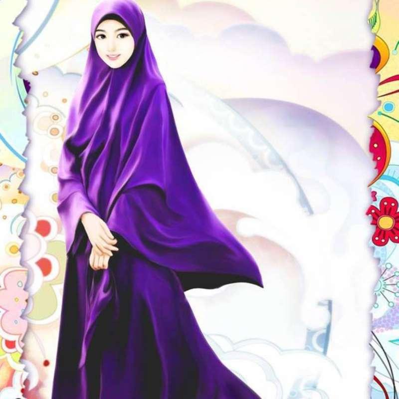 Gambar Kartun Muslimah Cantik Berjilbab Ungu