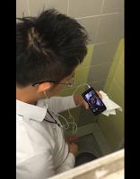 [2096] Sneaky nice boy masturbating in wc