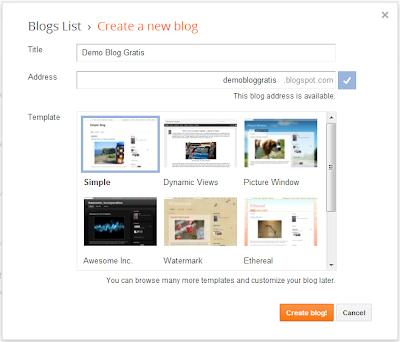 Cara membuat blog gratis di blogger atau blogspot di Internet
