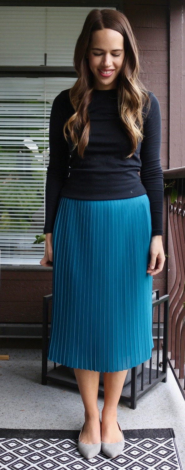 Jules in Flats - J.Crew Factory Pleated Midi Skirt