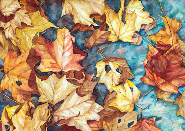 Autumn Leaves Painting by Jacque Oman