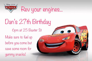 pixar cars 3 party  invite