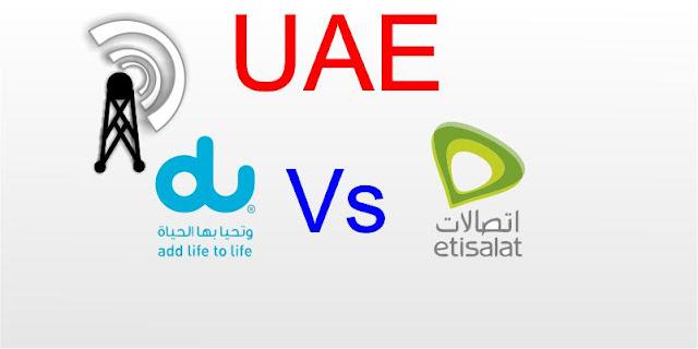 Estisalat and Du Mobile Network operators in UAE