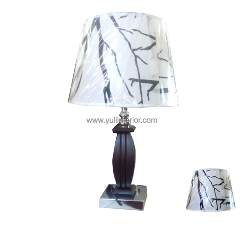 Mahogany and Chrome Base Table Lamp, Yuli Interior, Nigeria