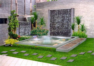 taman kolam minimalis air mancur
