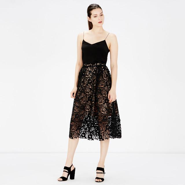 warehouse black lace skirt, black sheer midi skirt,