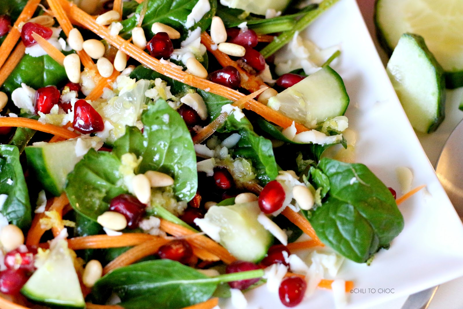 Spinach Pomegranate Salad with Honey Lime Dressing