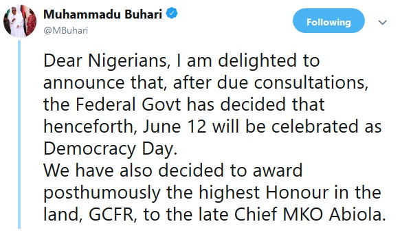 Breaking News: June 12 Will From Now Be Celebrated As Democracy Day – FG