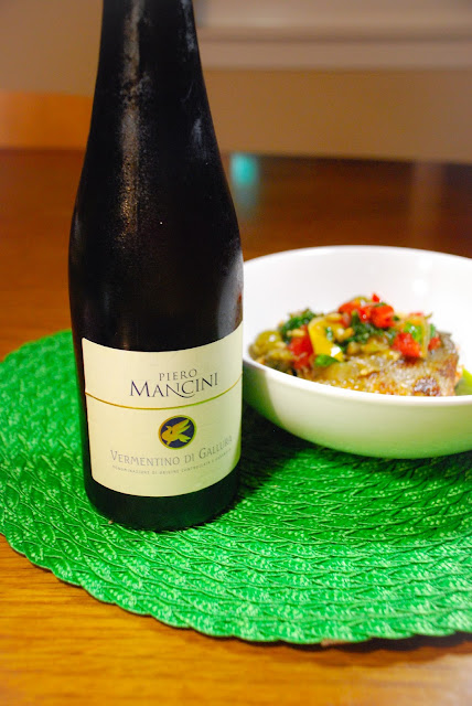 Piero Mancini Vermentino di Gallura and Salmo with Vegetables. Photo by Nicole Ruiz Hudson