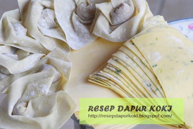 kulit pangsit, resep kulit pangsit, cara membuat kulit pangsit