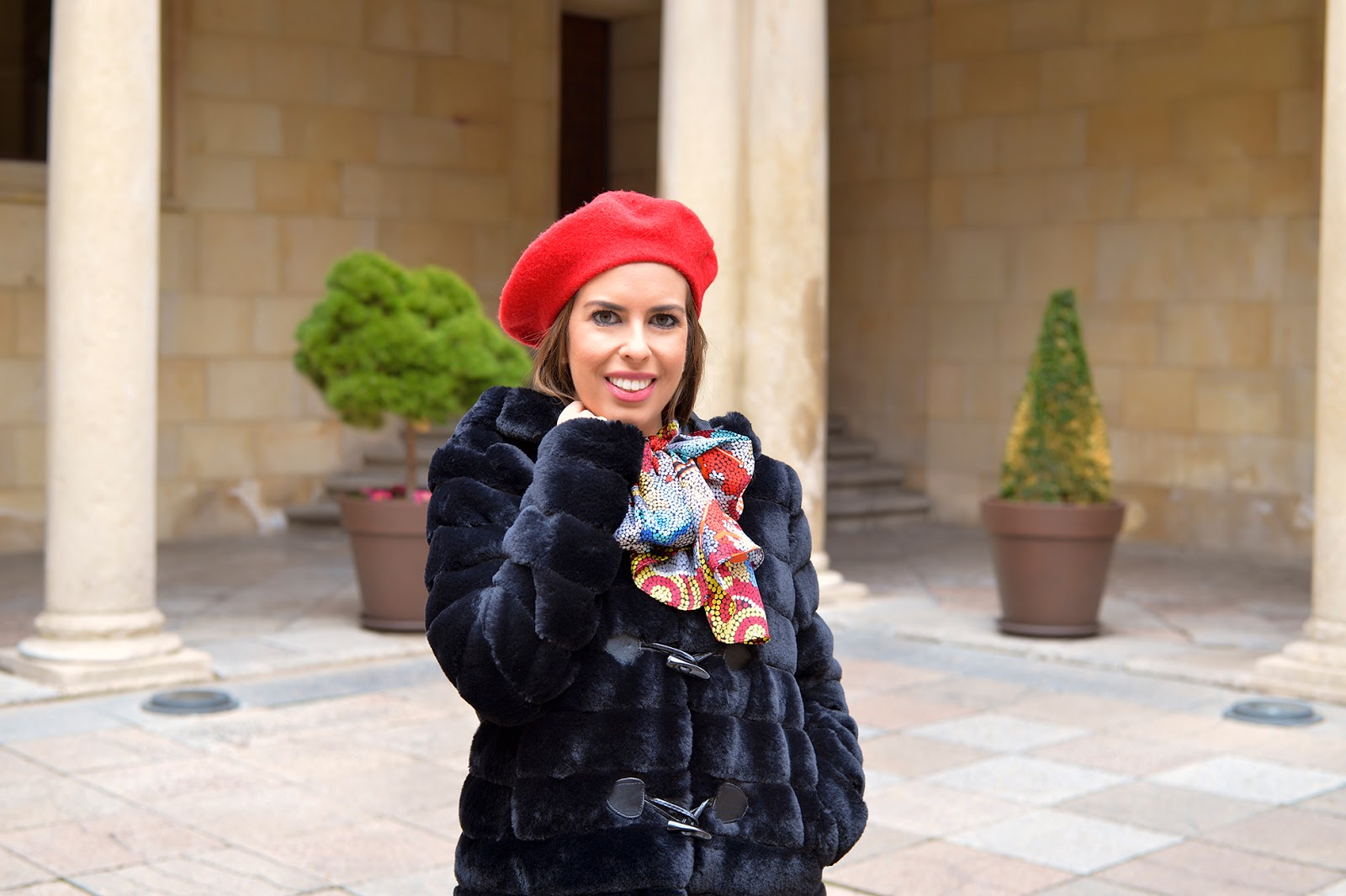 red french beret silk scarf faux fur coat Parisian girl style fashion