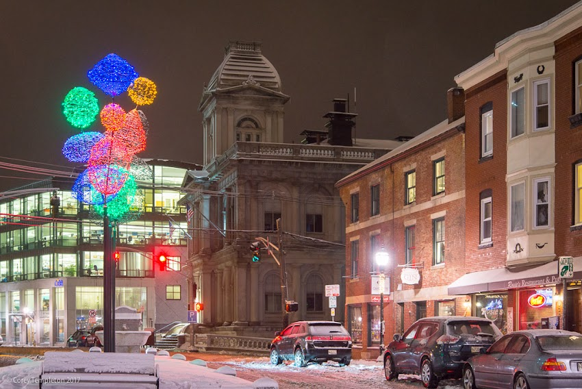 Portland, Maine USA January 2017 photo by Corey Templeton of winter lights along Fore Street at Boothby Square, in the Old Port.