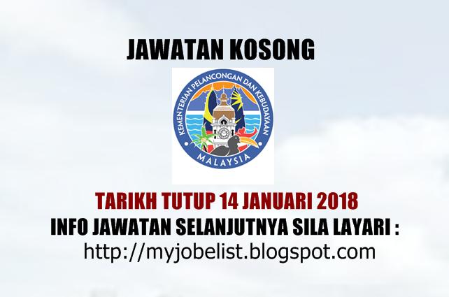 Jawatan Kosong di Kementerian Pelancongan dan Kebudayaan Malaysia - 14 Januari 2018