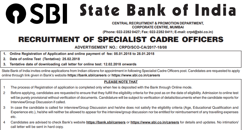 sbi bank so recruitment 2018