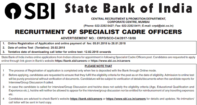SBI SO 2018 Recruitment Notification Out
