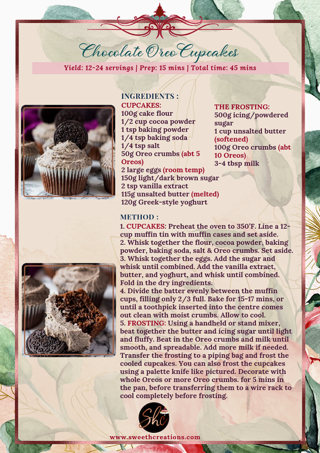 NO.8 - CHOCOLATE OREO CUPCAKES RECIPE