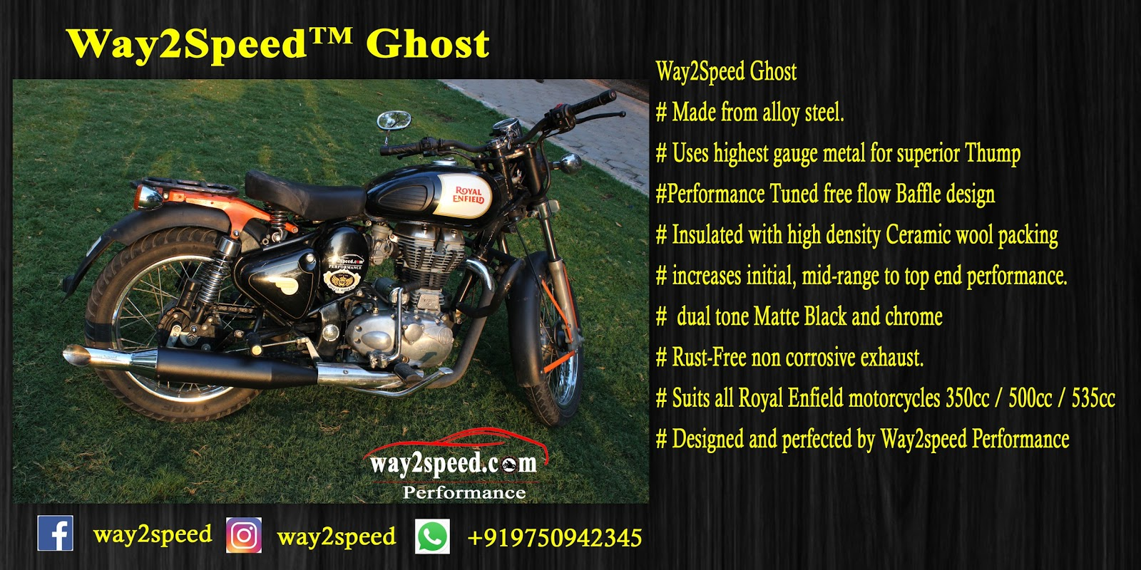 Royal Enfield Silencer | way2speed Peformance Ghost Exhaust