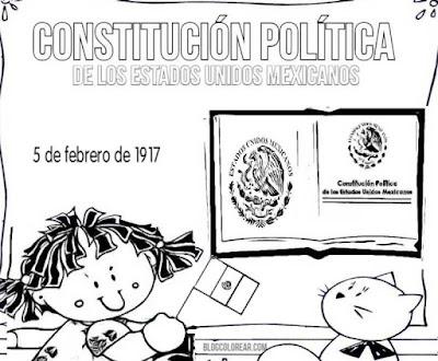 Dibujos para colorear constitución Mexicana