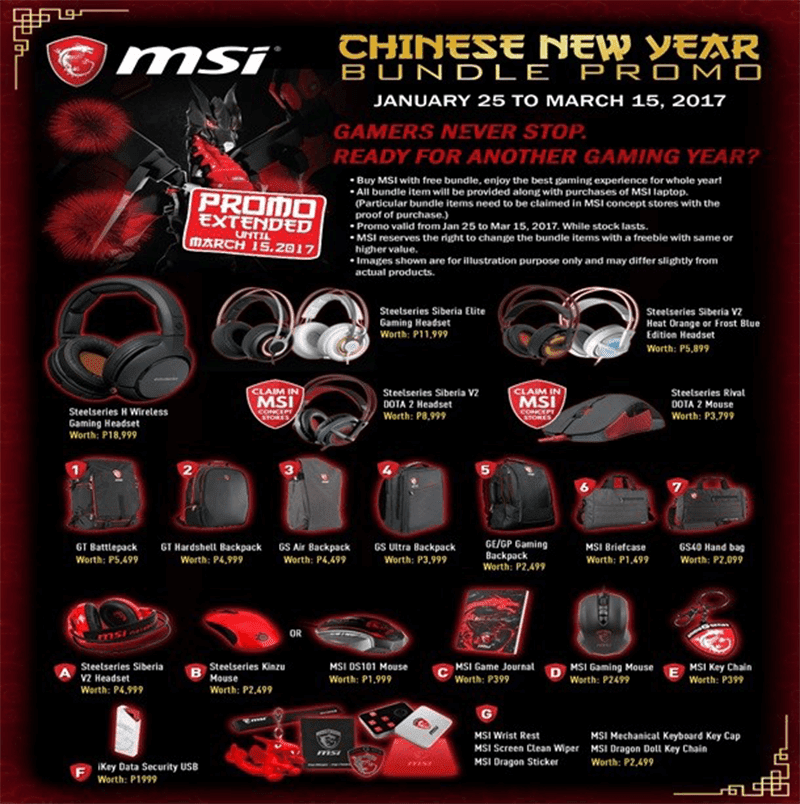 Bundle promos of MSI Gaming!