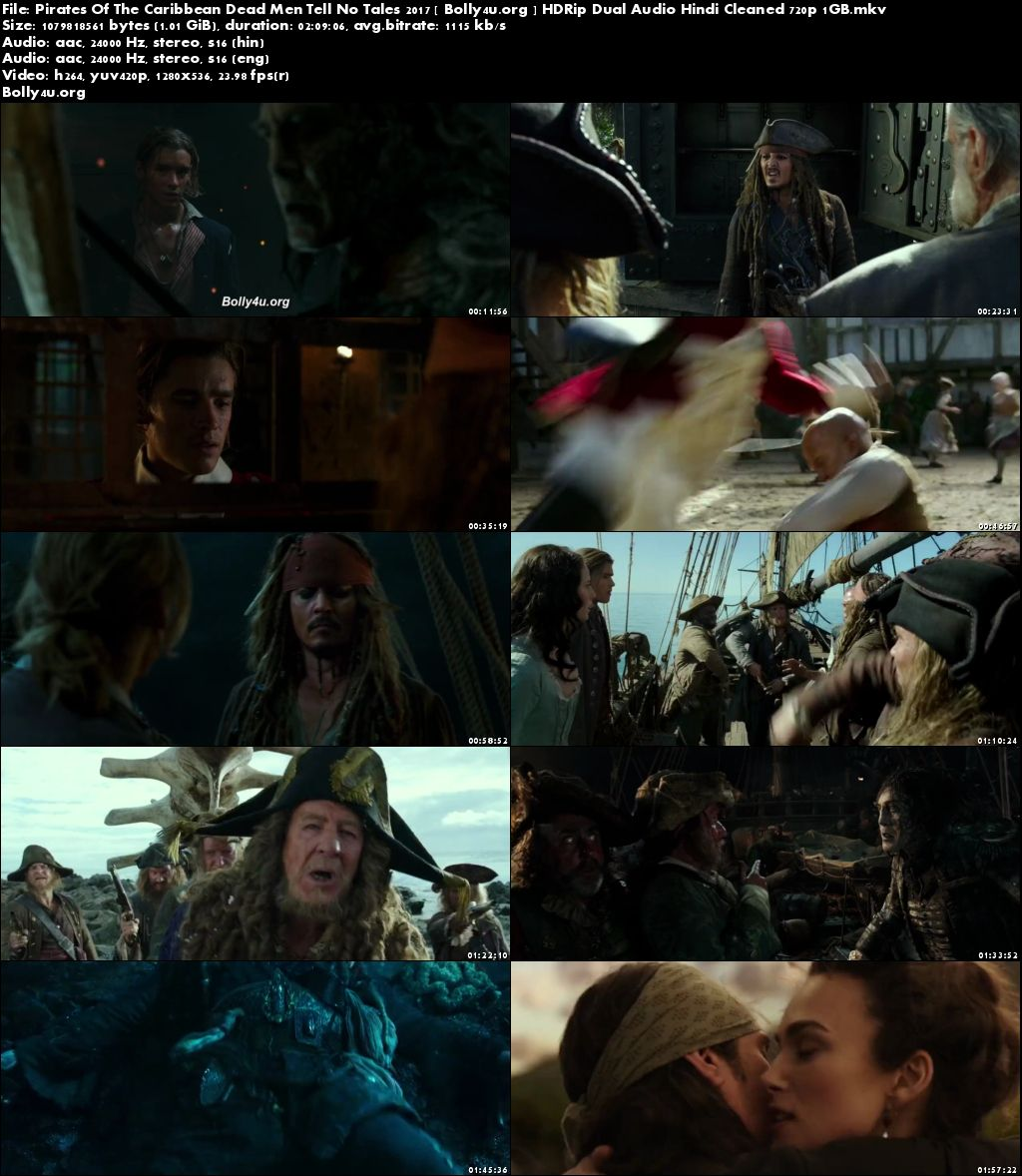 Pirates Of The Caribbean Dead Men Tell No Tales 2017 HDRip 400Mb Hindi Dual Audio 480p Download