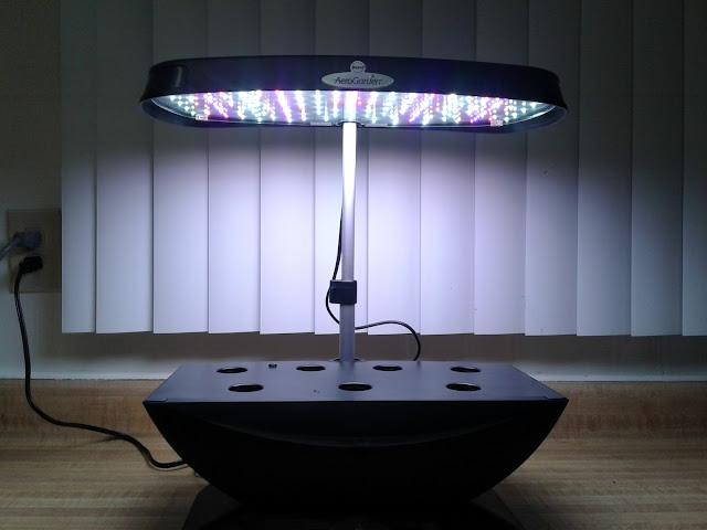 Aerogarden showing the LED array