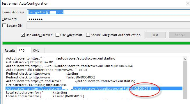 Consultants 'R' Us: AutoDiscover fails with 0x80040413 Hybrid Office