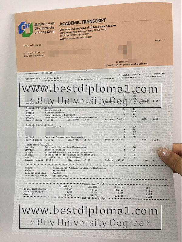 buy original CityU marksheet