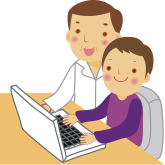 Parent teaching kid at computer