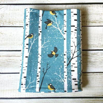 Snowy Day Birds Organic Swaddle Blanket