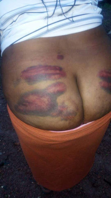 Photos: Ghana police officer whips 29-year-old lady