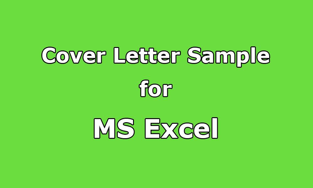 Cover Letter Sample For MS Excel Spreadsheet