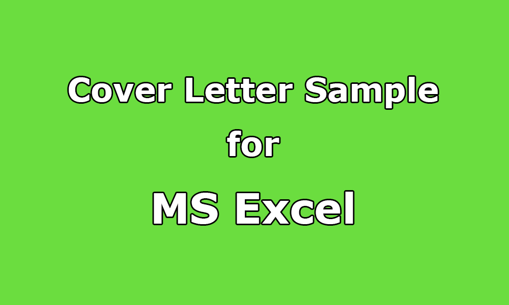 Cover Letter Sample for MS Excel, Spreadsheet - Upwork Help