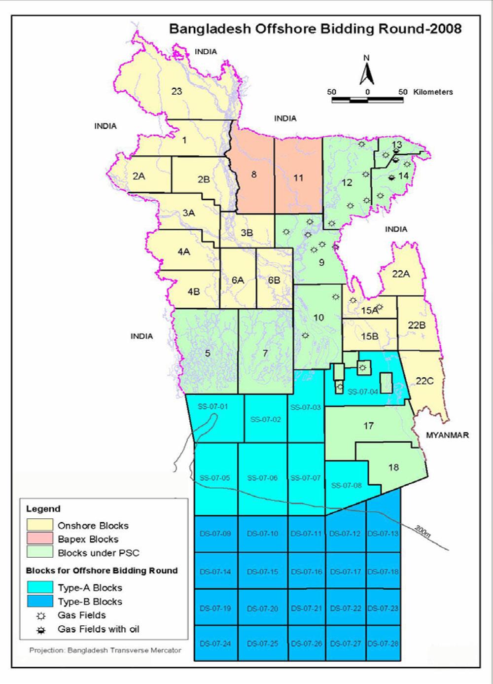 Gas Blocks Map Bangladesh (2008)