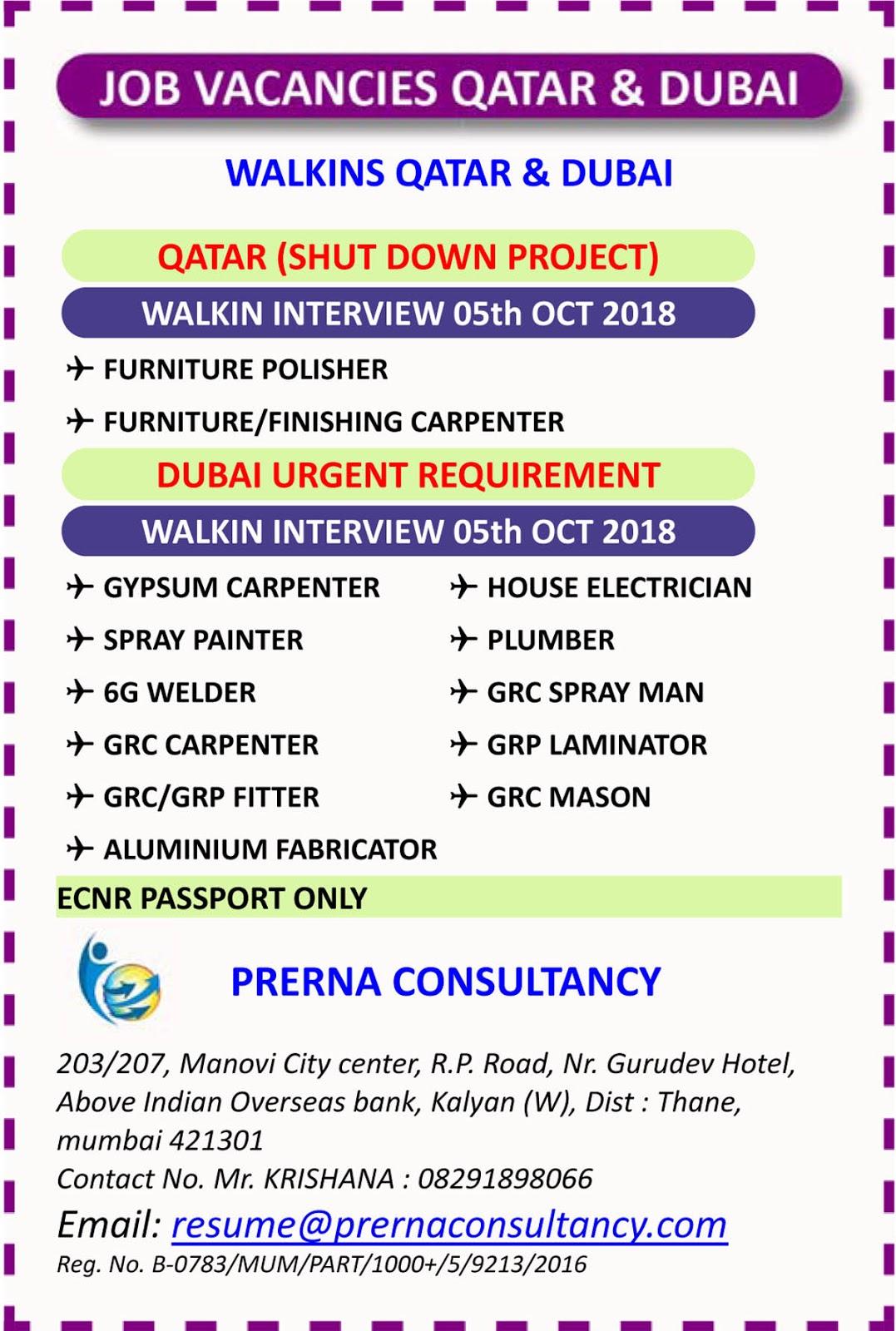 Gulf jobs walkin for QATAR