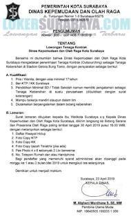 Lowangan Kerja di Dinas Kepemudaan dan Olah Raga Kota Surabaya Terbaru April 2019
